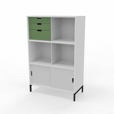 Edsbyn Neat Office Storage 800mm White and Grey with Bay Leaf Green