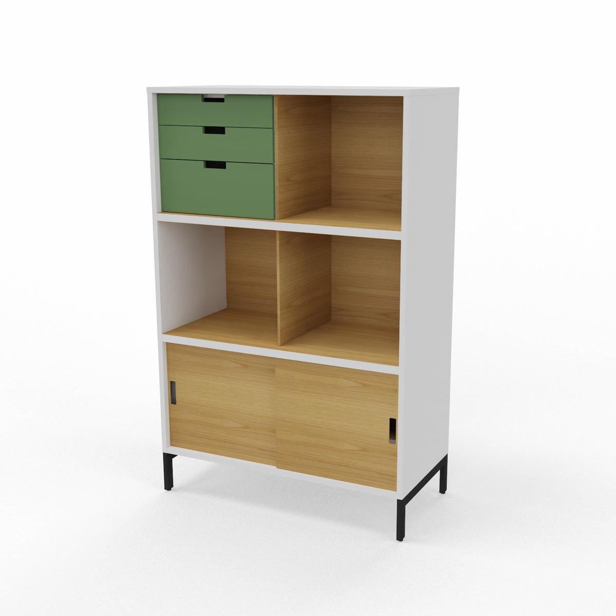 Edsbyn Neat Office Storage 800mm White and Oak with Bay Leaf Green