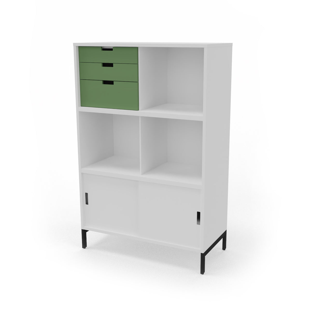 Edsbyn Neat Office Storage 800mm White with Bay Leaf Green