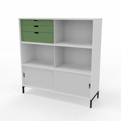 Edsbyn Neat Office Storage 1200mm White and Grey with Bay Leaf Green