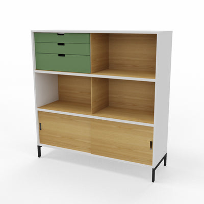 Edsbyn Neat Office Storage 1200mm White and Oak with Bay Leaf Green