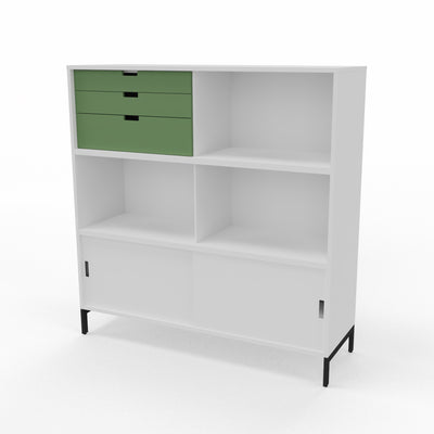 Edsbyn Neat Office Storage 1200mm White with Bay Leaf Green
