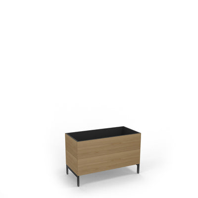 Edsbyn Office Neat Green Planter Box with Black Base 800mm Oak Veneer