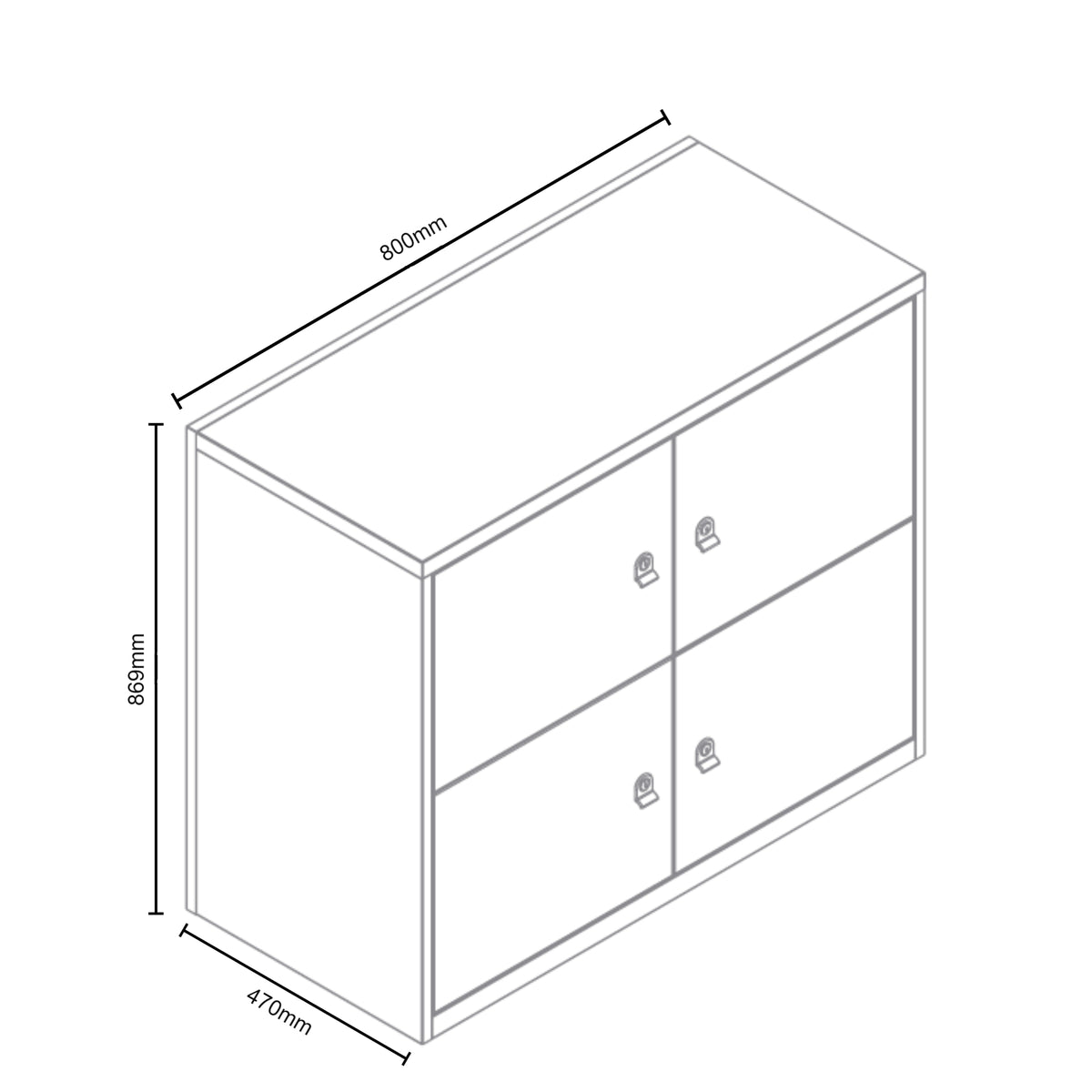 Dimensions for Bisley Metal Office Four Door LateralFile Locker