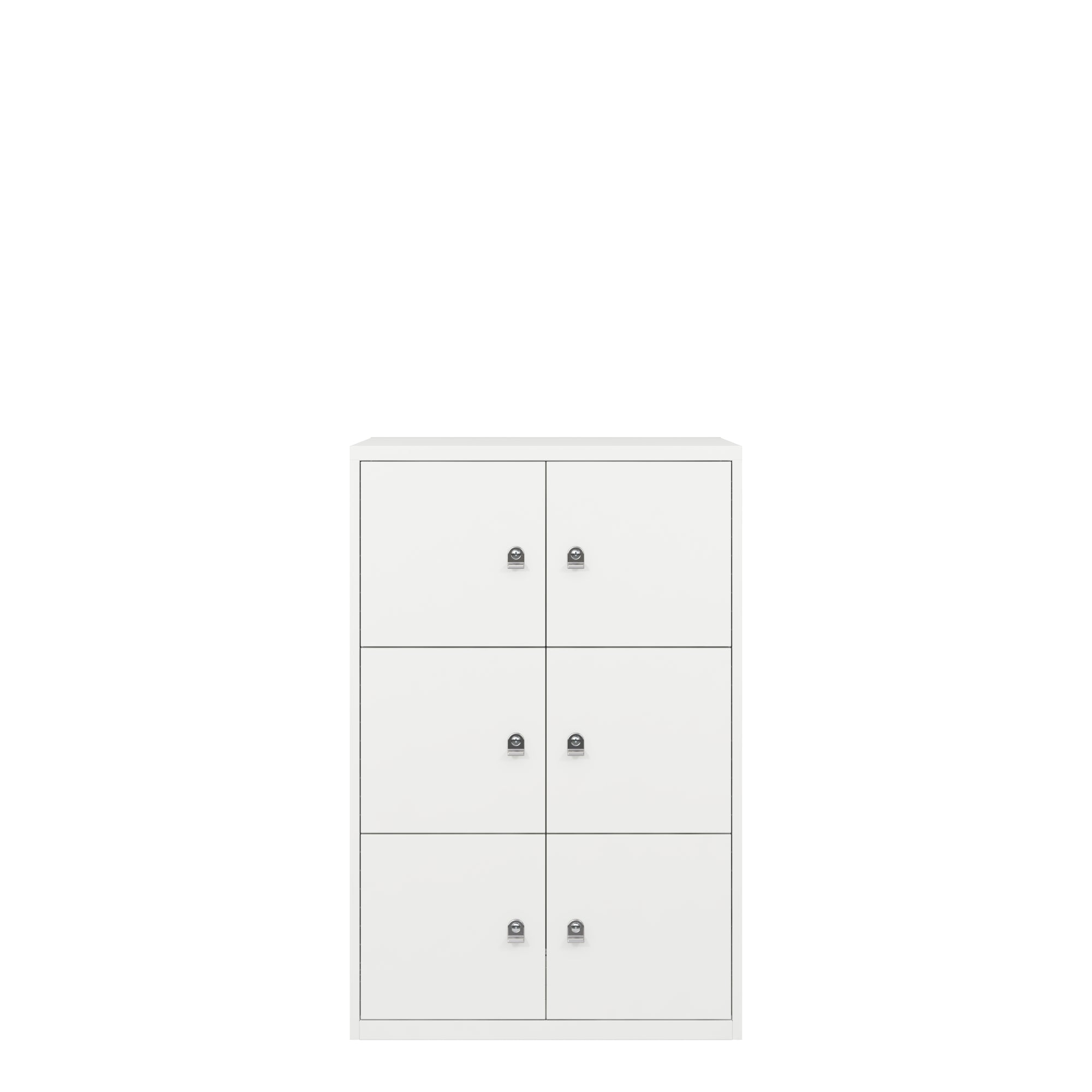 Bisley Metal Office Six Door LateralFile Locker Traffic White