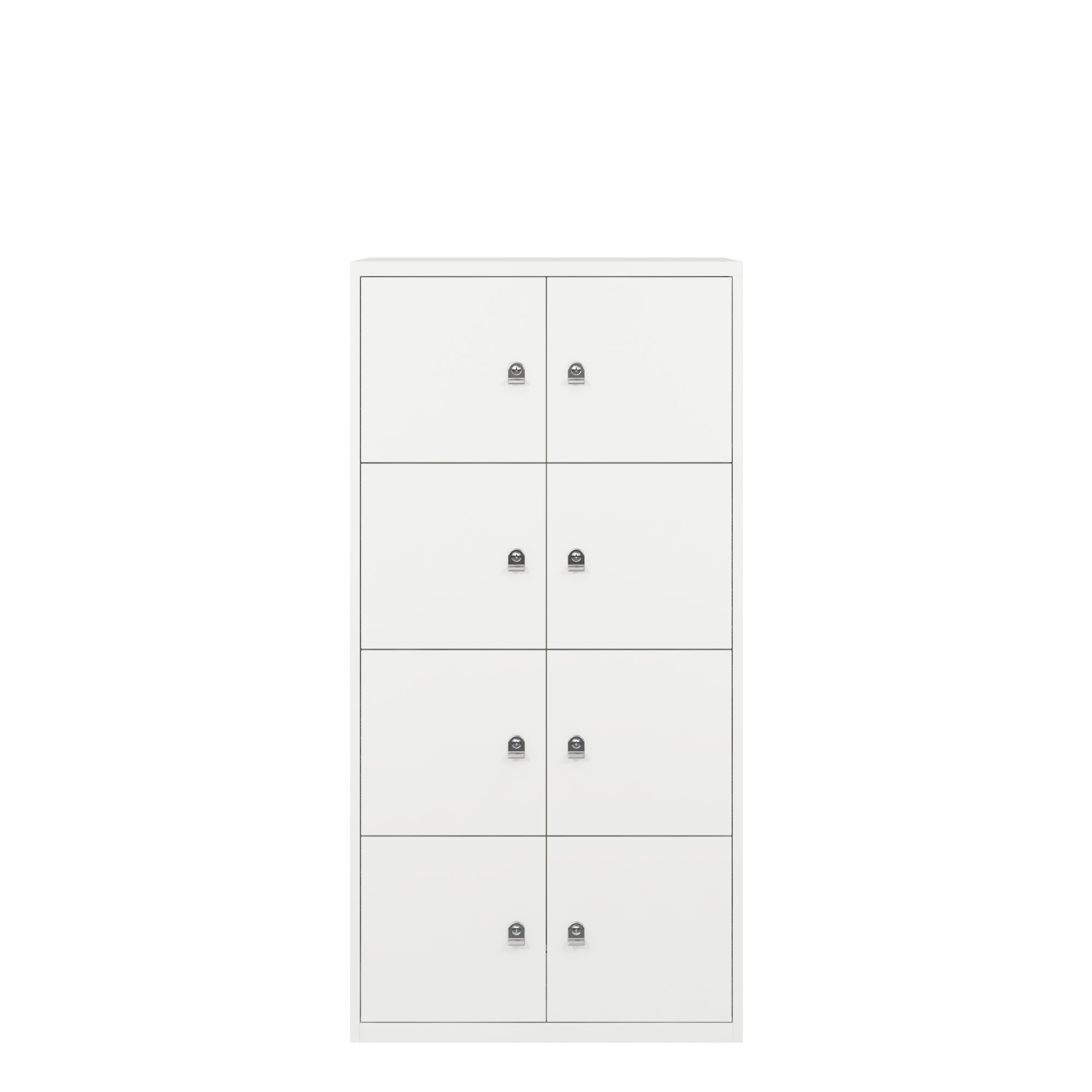 Bisley Traffic White Metal Office Eight Door LateralFile Locker