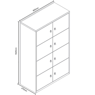 Dimensions for Bisley Metal Office Eight Door LateralFile Locker