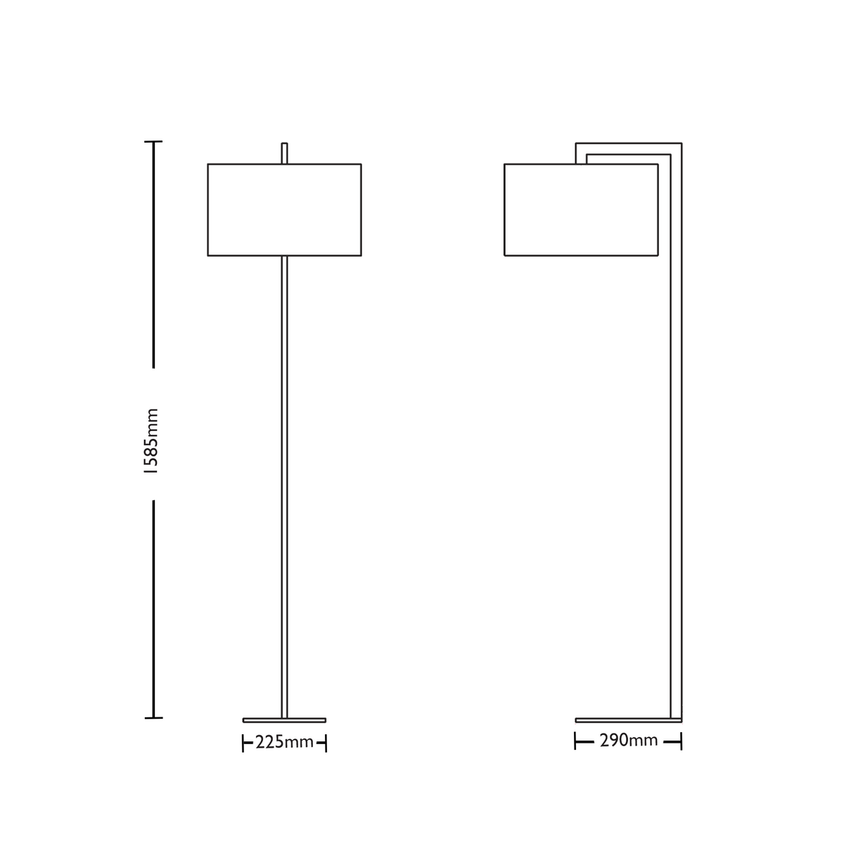 Dimensions for Astro Lighting Office Ravello Floor Lamp