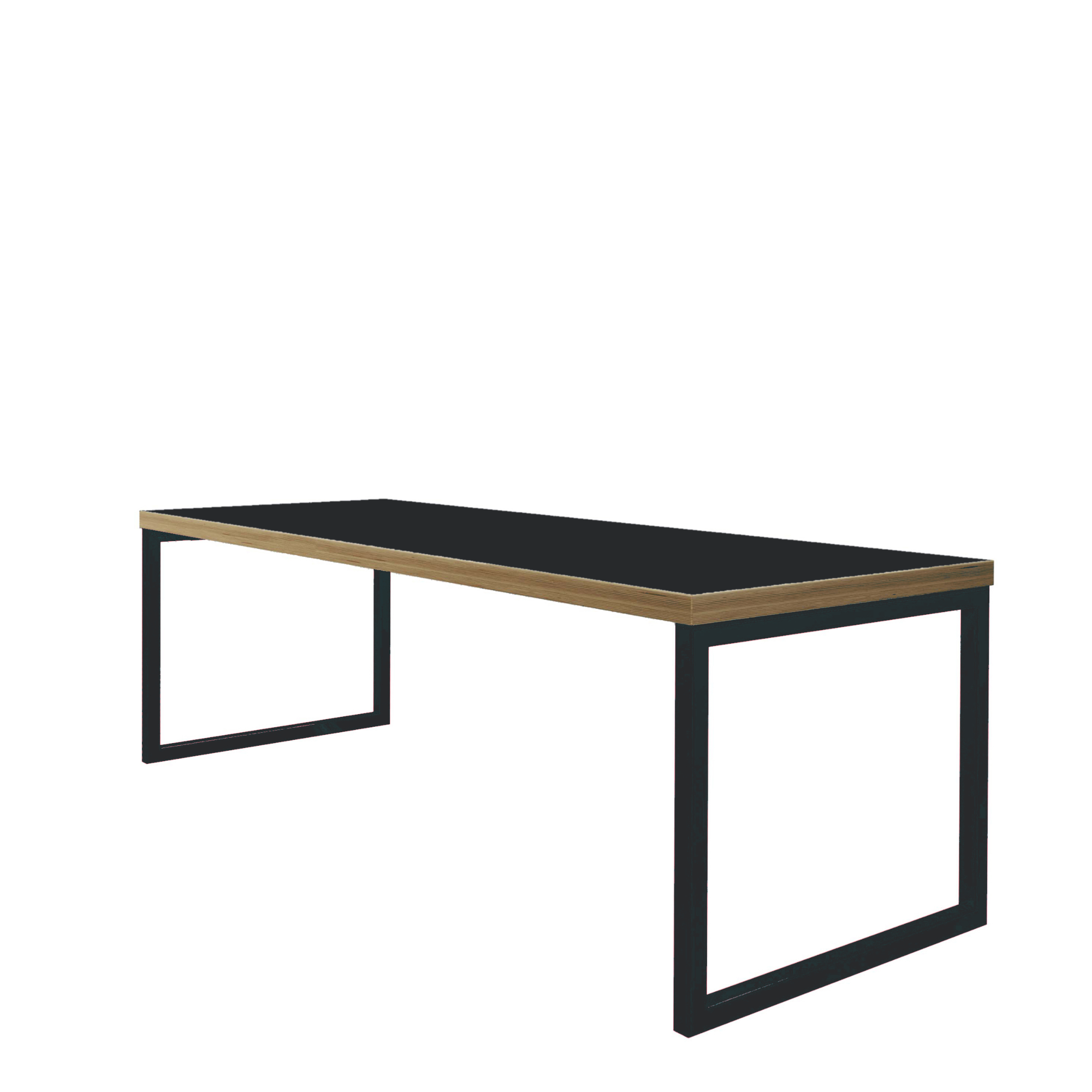 ORN Axiom Café Bench Table Black with Graphite Black 9011 Frame