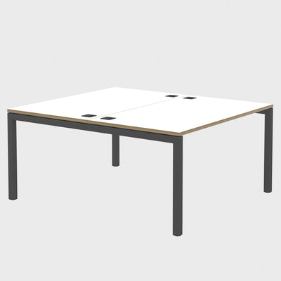 Elite Office Matrix Desk Dual Back to Back White with Plywood Edge