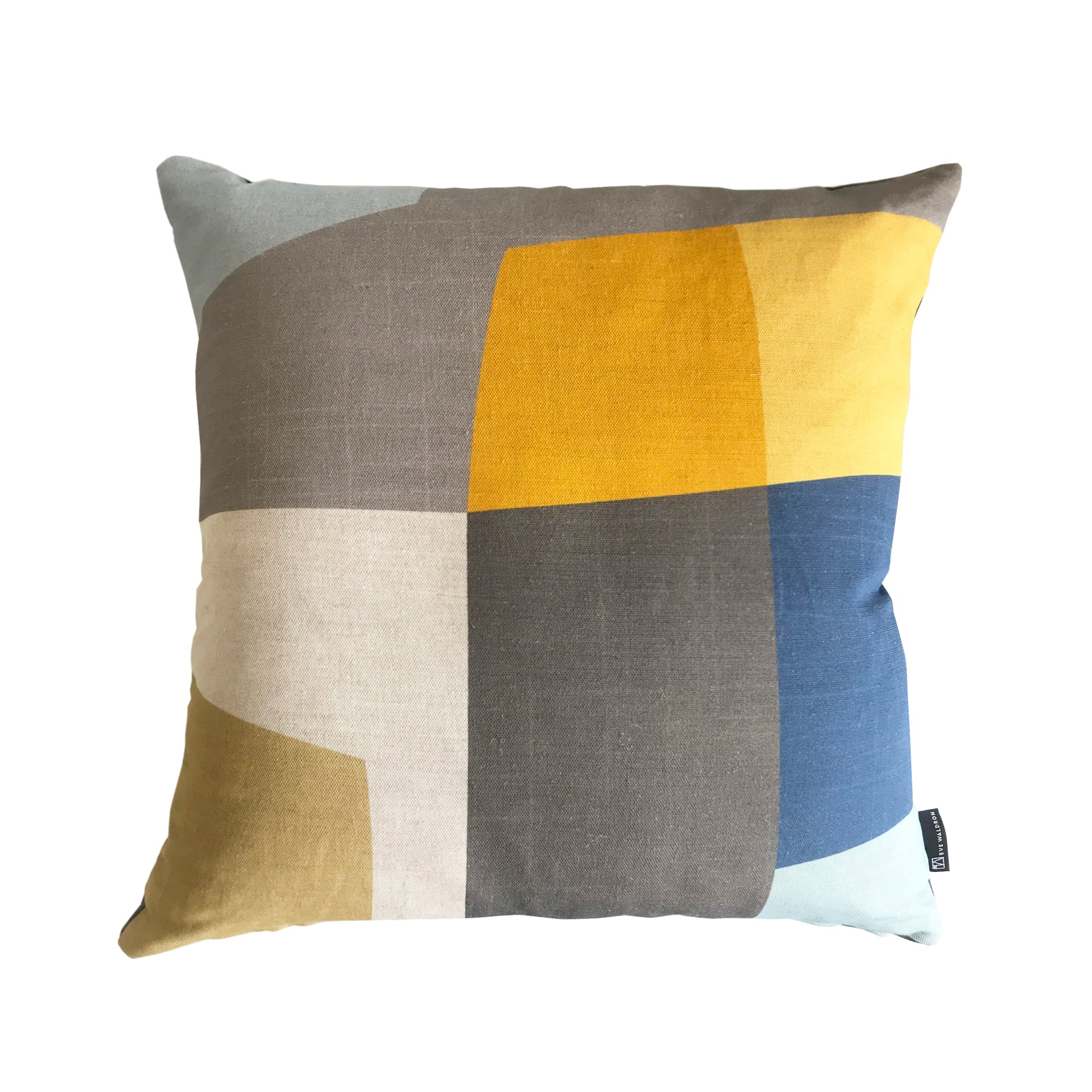 Eve Waldron Design Office Cushion Gold Blue Windows 500 x 500mm