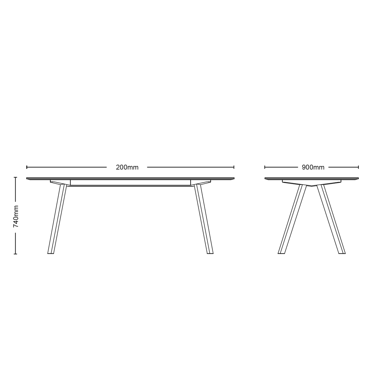 Dimensions for HAY Office CPH 30 Table, 2000mm Black