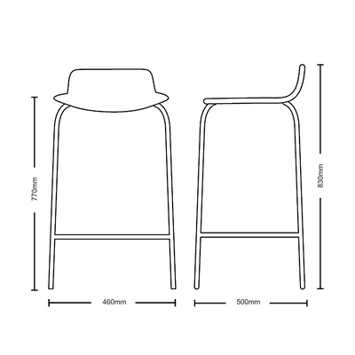 Dimensions for New Design Group Coffee Stool Fully Upholstered Low Back