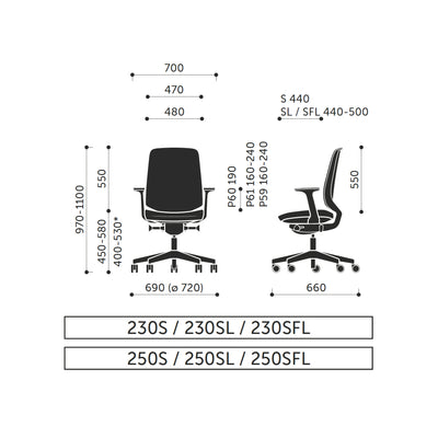 Dimensions for Spacestor LightUp Office Task Chair Upholstered