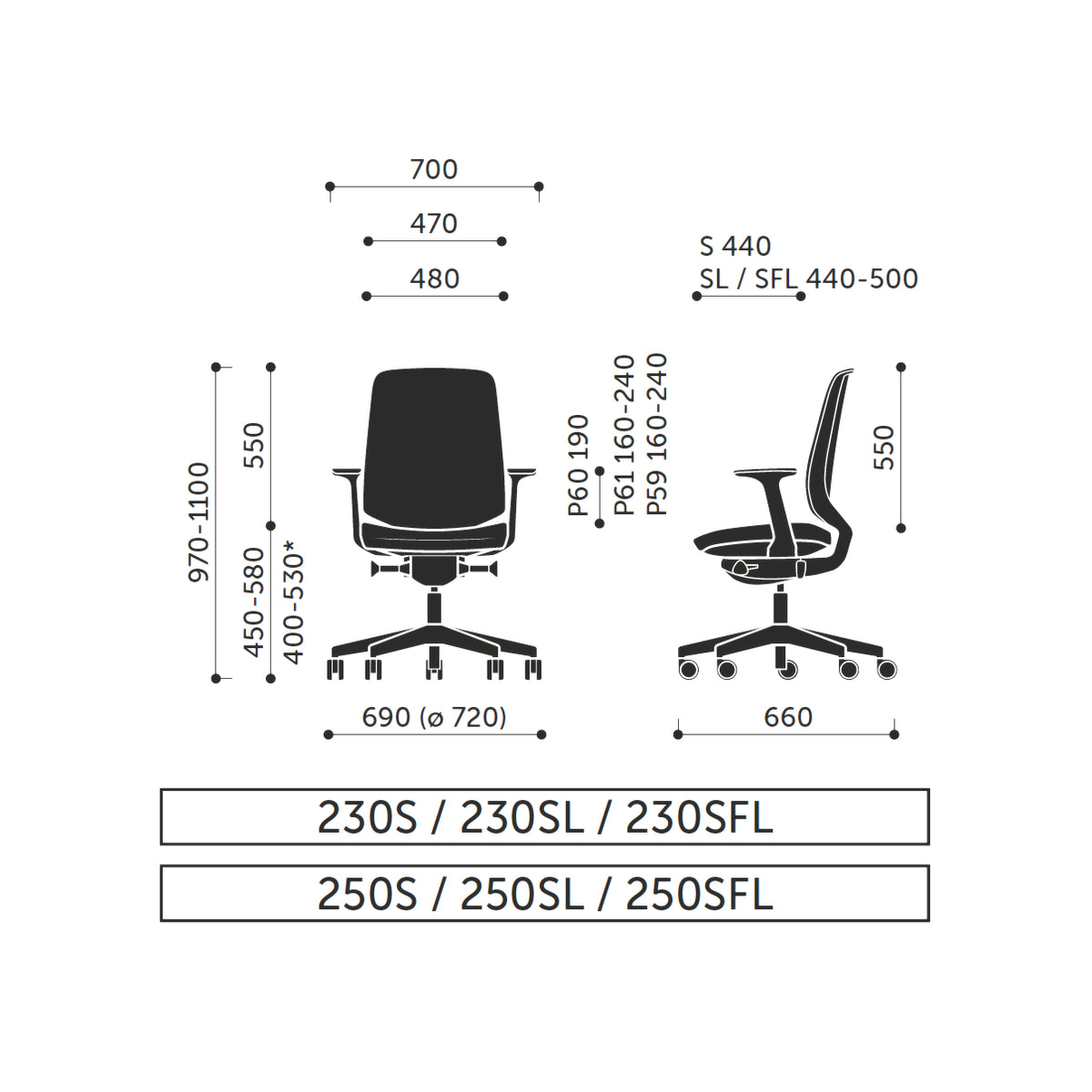 Dimensions for Spacestor LightUp Office Chair Grey Base