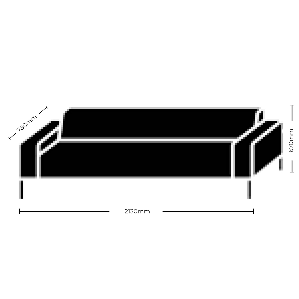 Dimensions for Hitch Mylius HM18 Origin Three Seat Sofa Black Legs