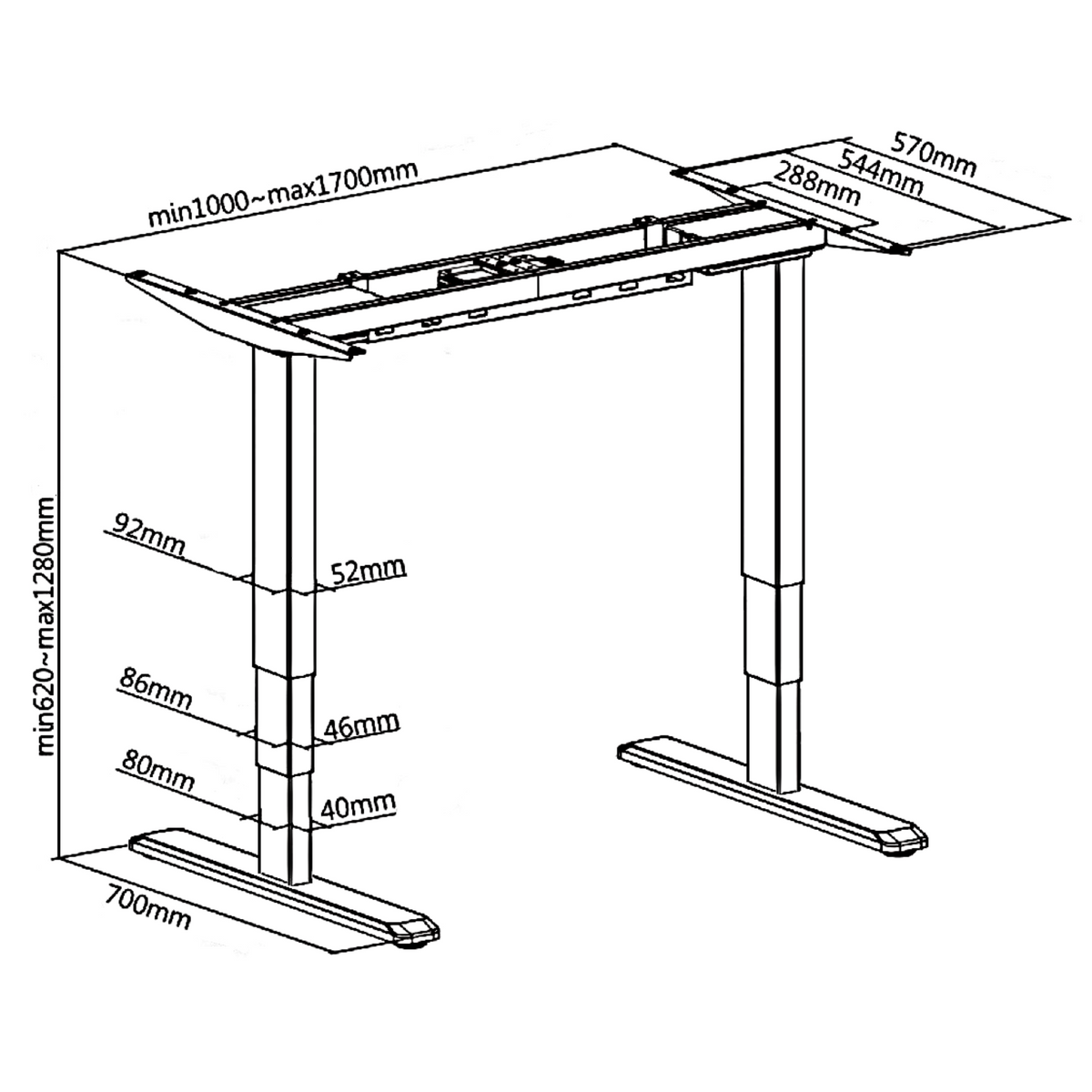 Dimensions for Electric Office Sit Stand Desk