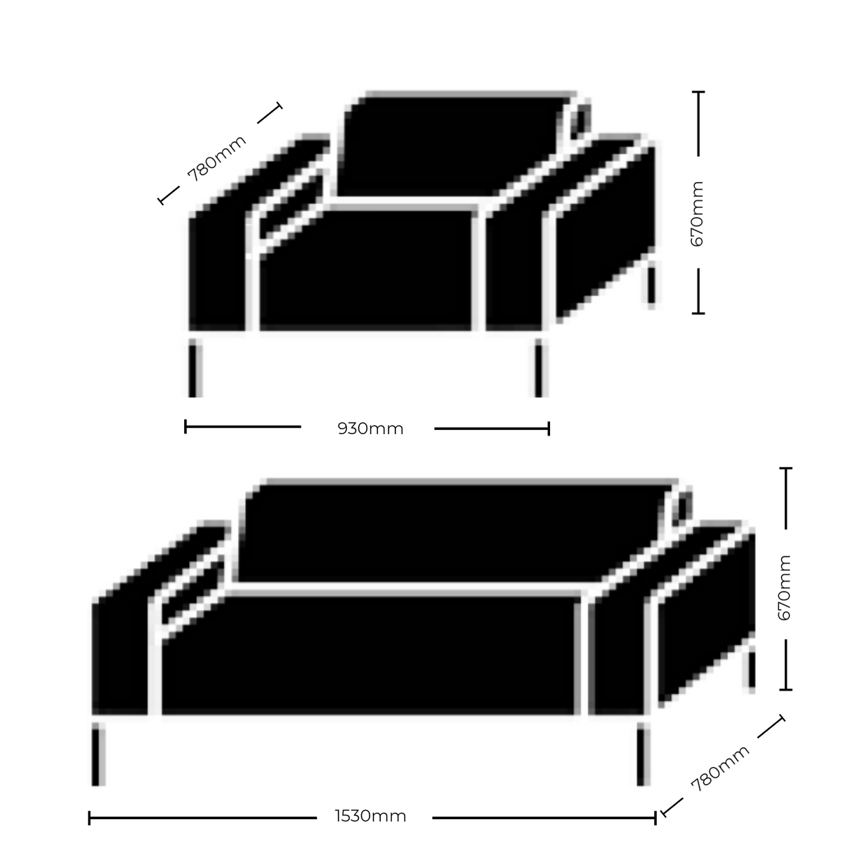 Dimensions for Hitch Mylius HM18 Origin Two Seat Sofa Black Legs