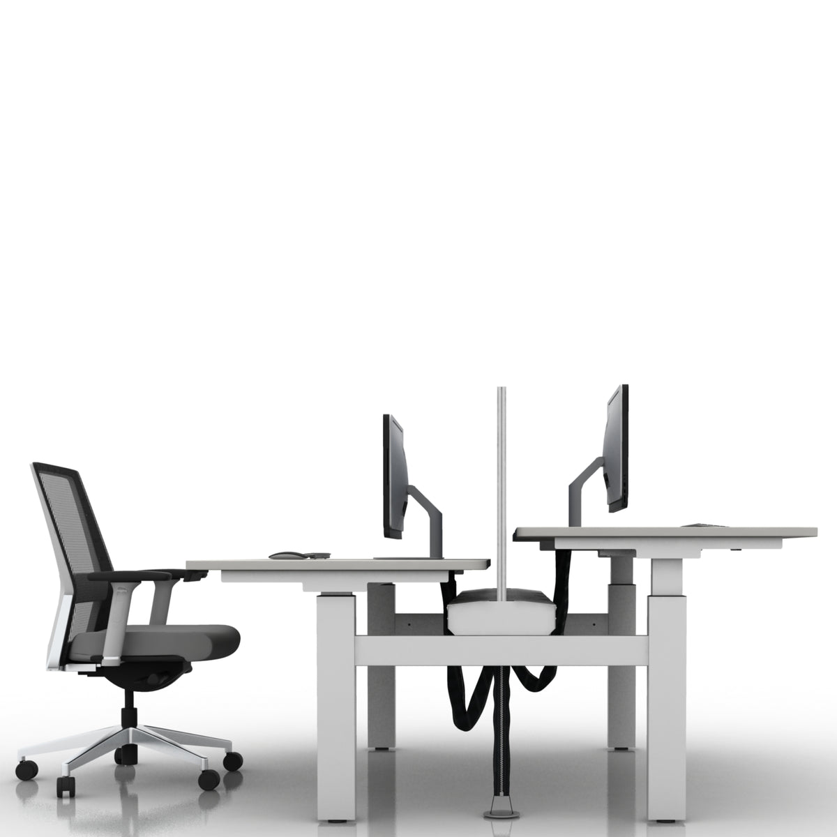 Dual Electric Sit Stand Height Adjustable White Desk