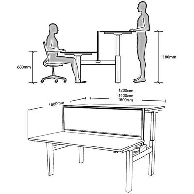 Dimensions for Dual Electric Sit Stand Height Adjustable White Desk