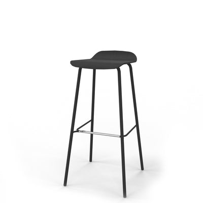 Edsbyn Black Feather Stool Large Black Stained Oak with Black Lacquer Frame