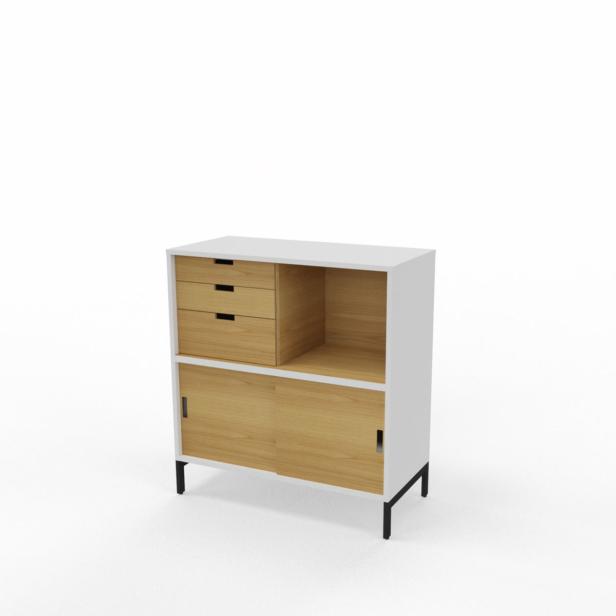 Edsbyn Office Neat Credenza 800m White and Oak with Oak Veneer
