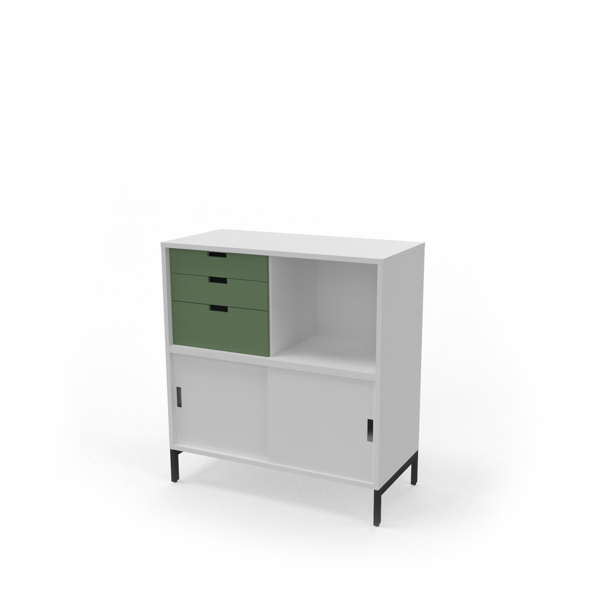 Edsbyn Office Neat Credenza 800m White with Bay Leaf Green