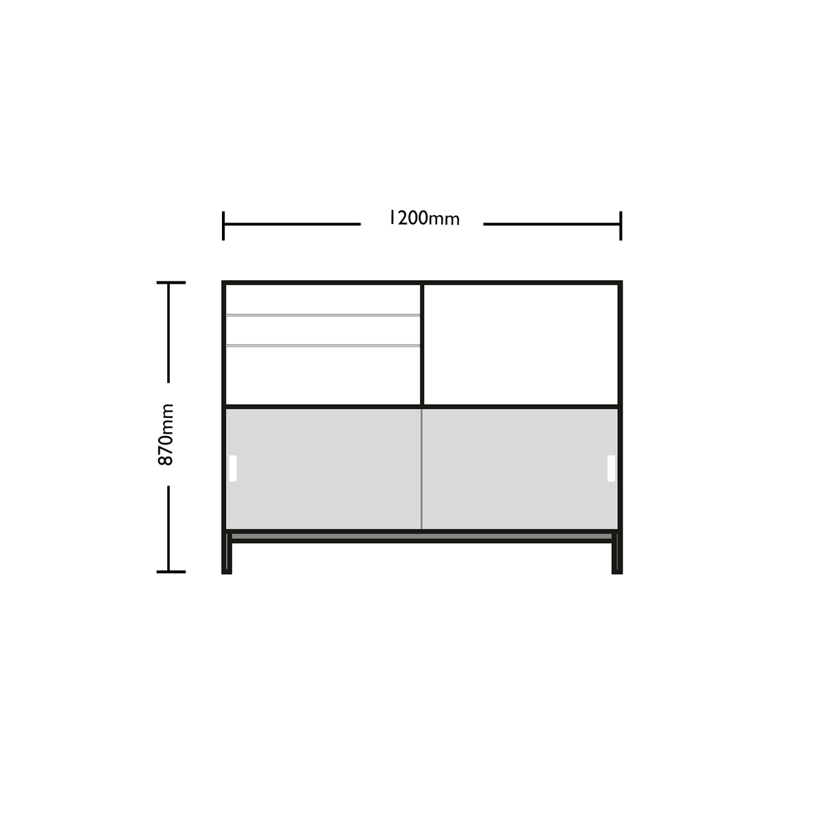 Dimensions for Edsbyn Office Neat Credenza 1200m
