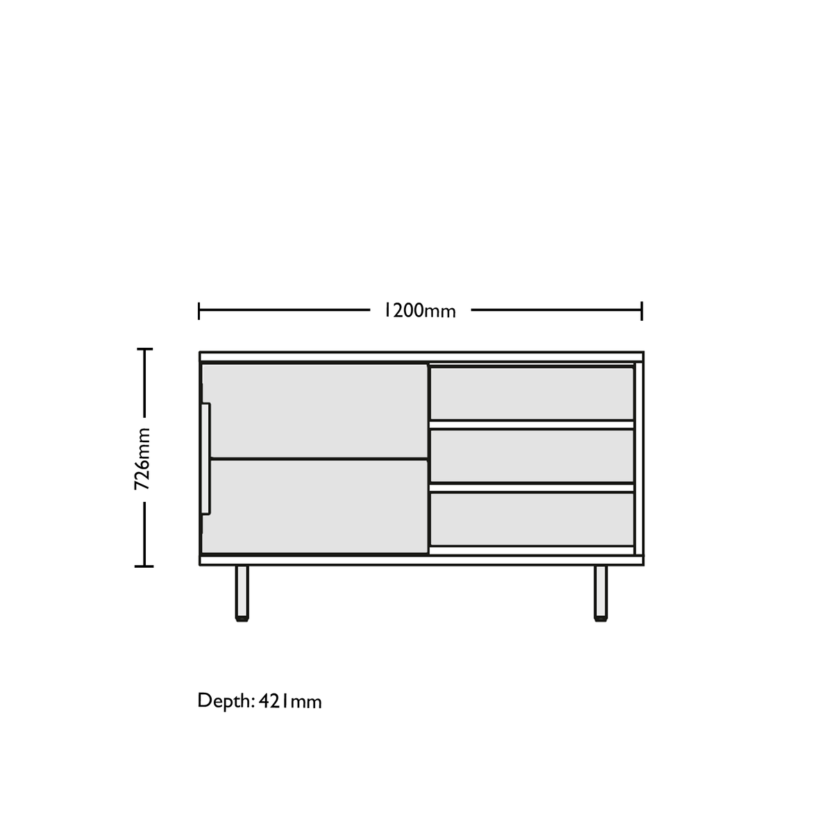 Dimensions for Edsbyn Office Part Sideboard 1200mmW