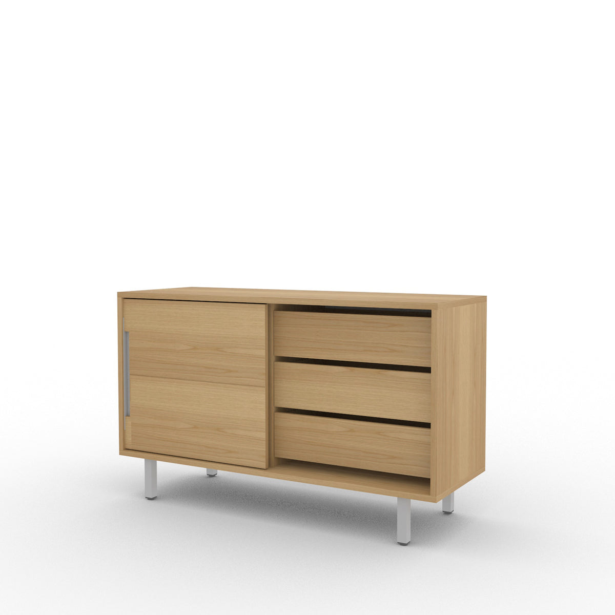 Edsbyn Office Part Sideboard 1200mmW Oak Veneer with Silver Base