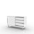 Edsbyn Office Part Sideboard 1200mmW White with Silver Base