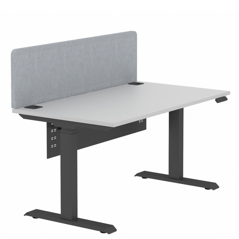 Elite Electric Sit Stand Desk Single Black Base Grey Plywood