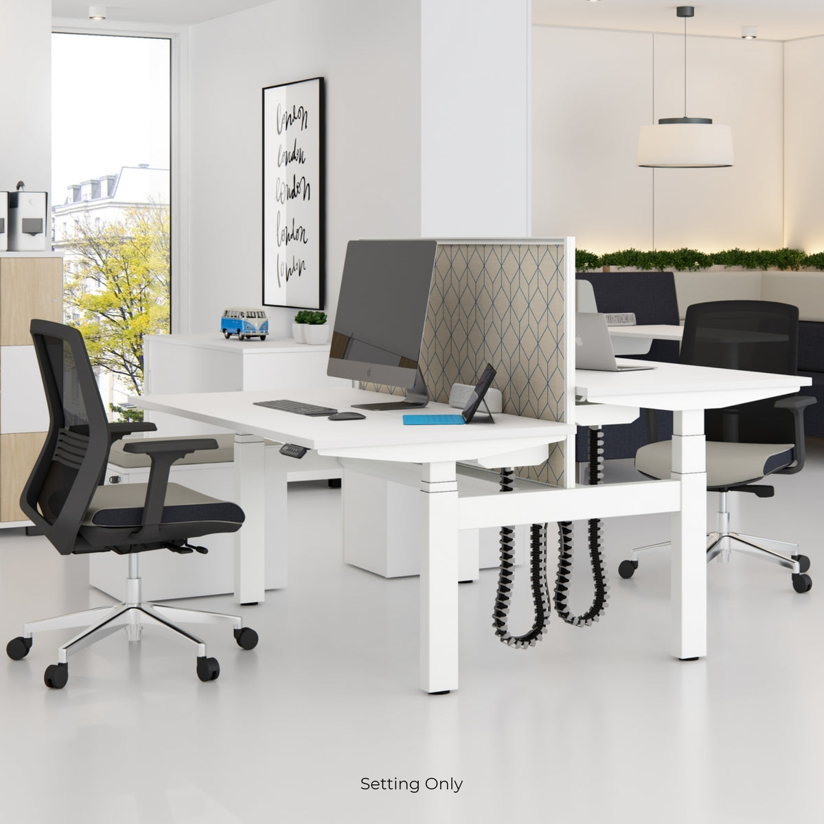Elite Electric Office Sit Stand Desk Dual White Base