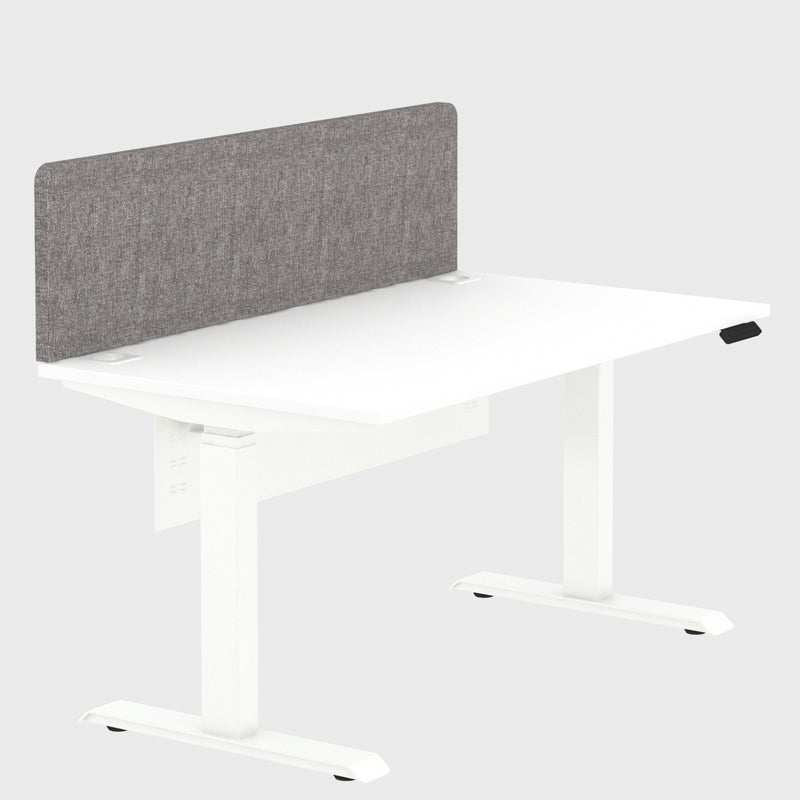 Elite Electric Office Sit Stand Desk Single White Base White Plywood