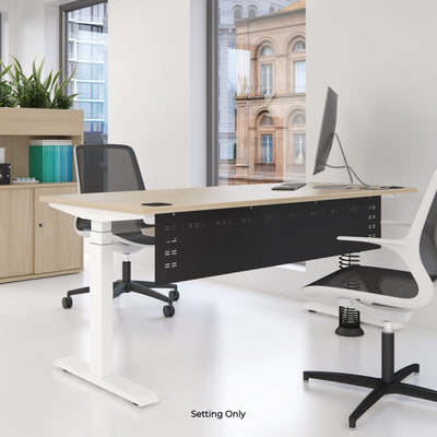 Elite Electric Office Sit Stand Desk Single White Base