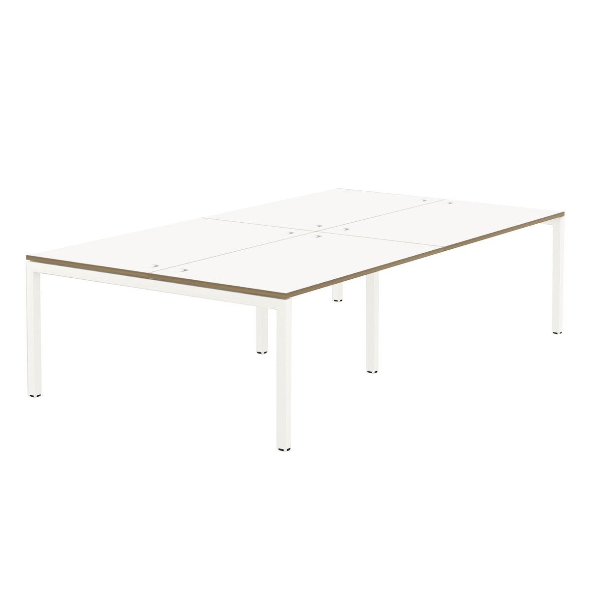 Elite Office Matrix Desk Bank of Four White with Plywood Edge