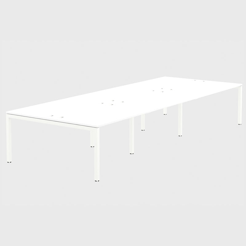 Elite Office Matrix Desk Bank of Six White with Plywood Edge