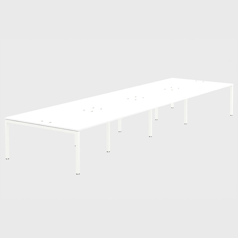 Elite Office Matrix Desk Bank of Eight White with Plywood Edge