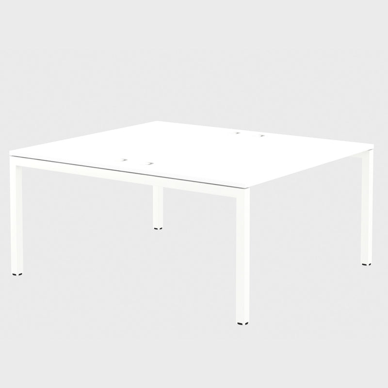Elite Matrix Desk Dual Back to Back White with Plywood Edge