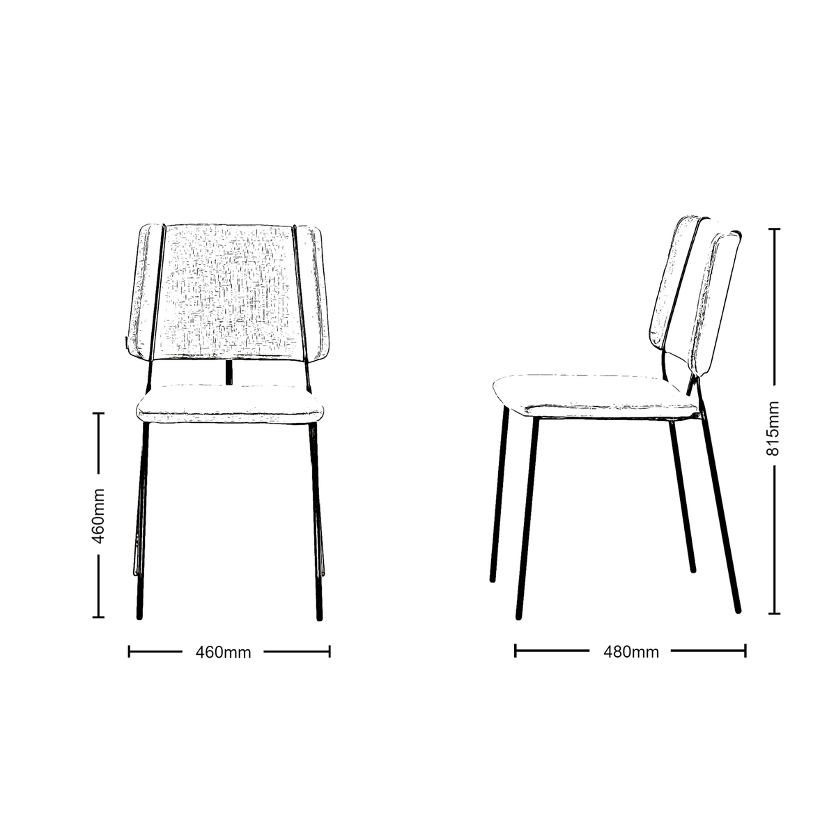 Dimensions for Johanson Design - Frankie Stackable Chair - Set of Four