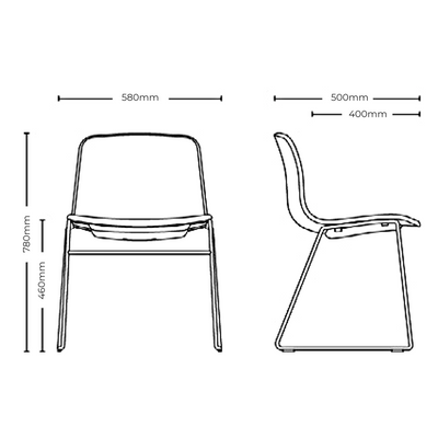 Dimensions for HAY About A Chair AAC09, Upholstered Stackable Chair