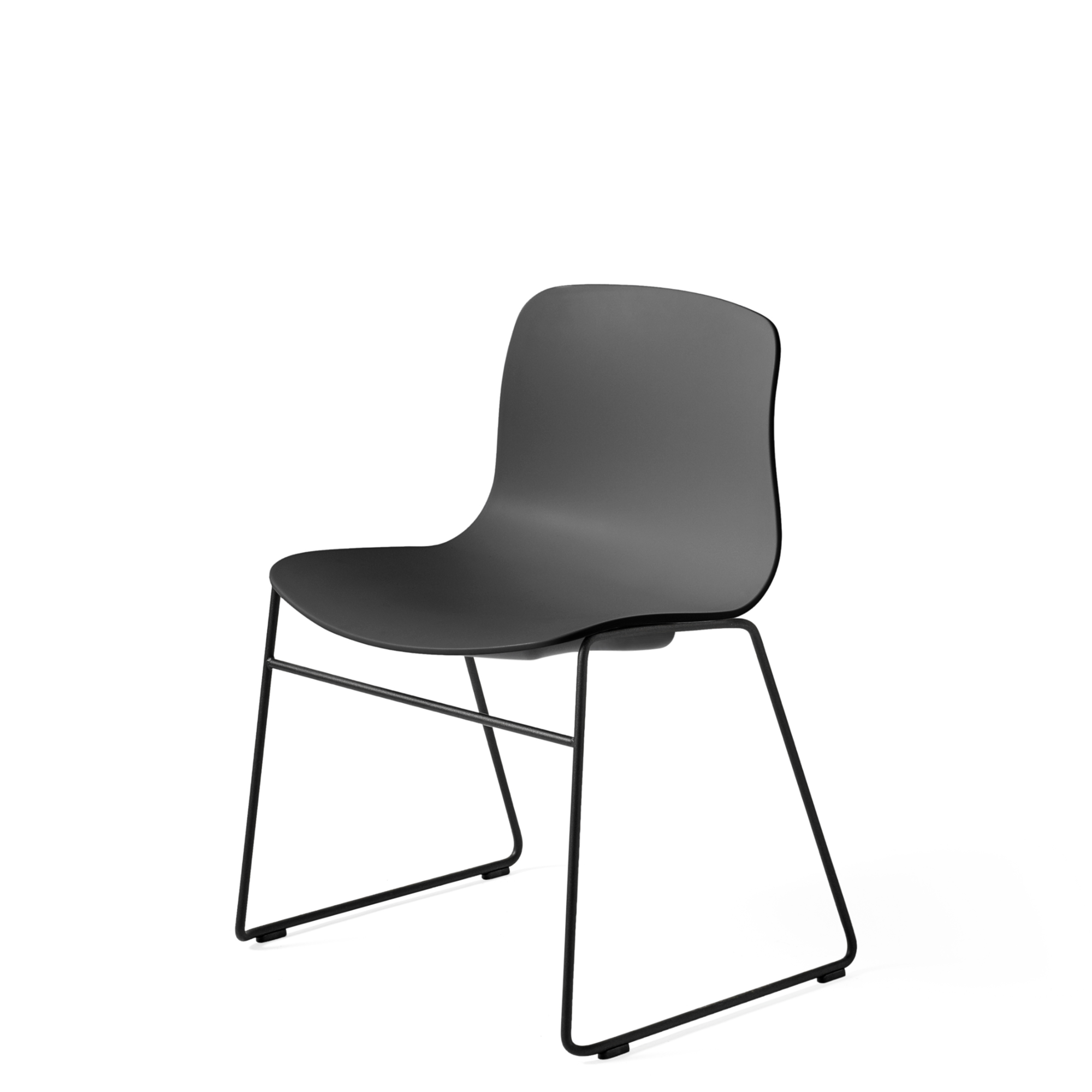 HAY About A Chair AAC 08 Soft Black Stackable Chair with Black Powder Coated Base