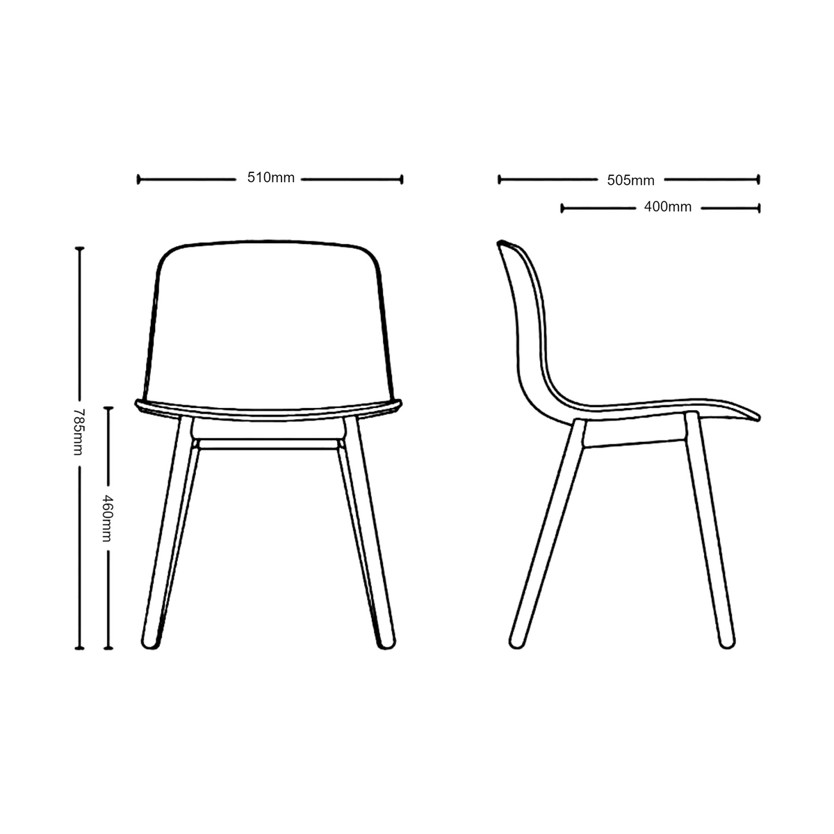 Dimensions for HAY About A Chair AAC12 Chair
