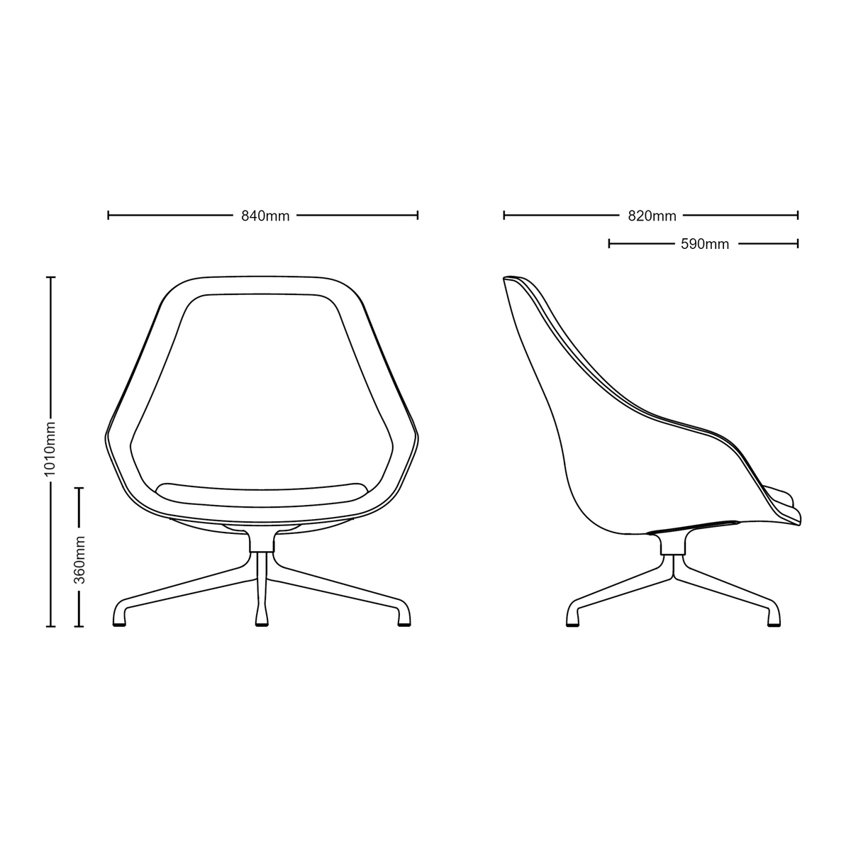 Dimensions of HAY About A Chair AAL91