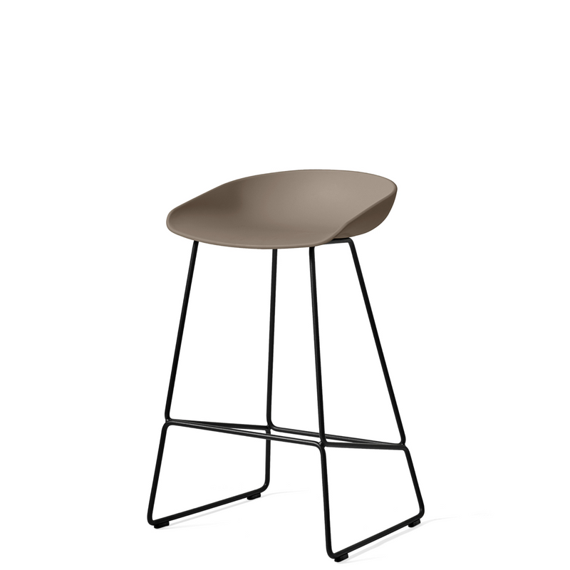 HAY About A Stool AAS38 Soft Black with Black Powder Coated Solid Steel Base