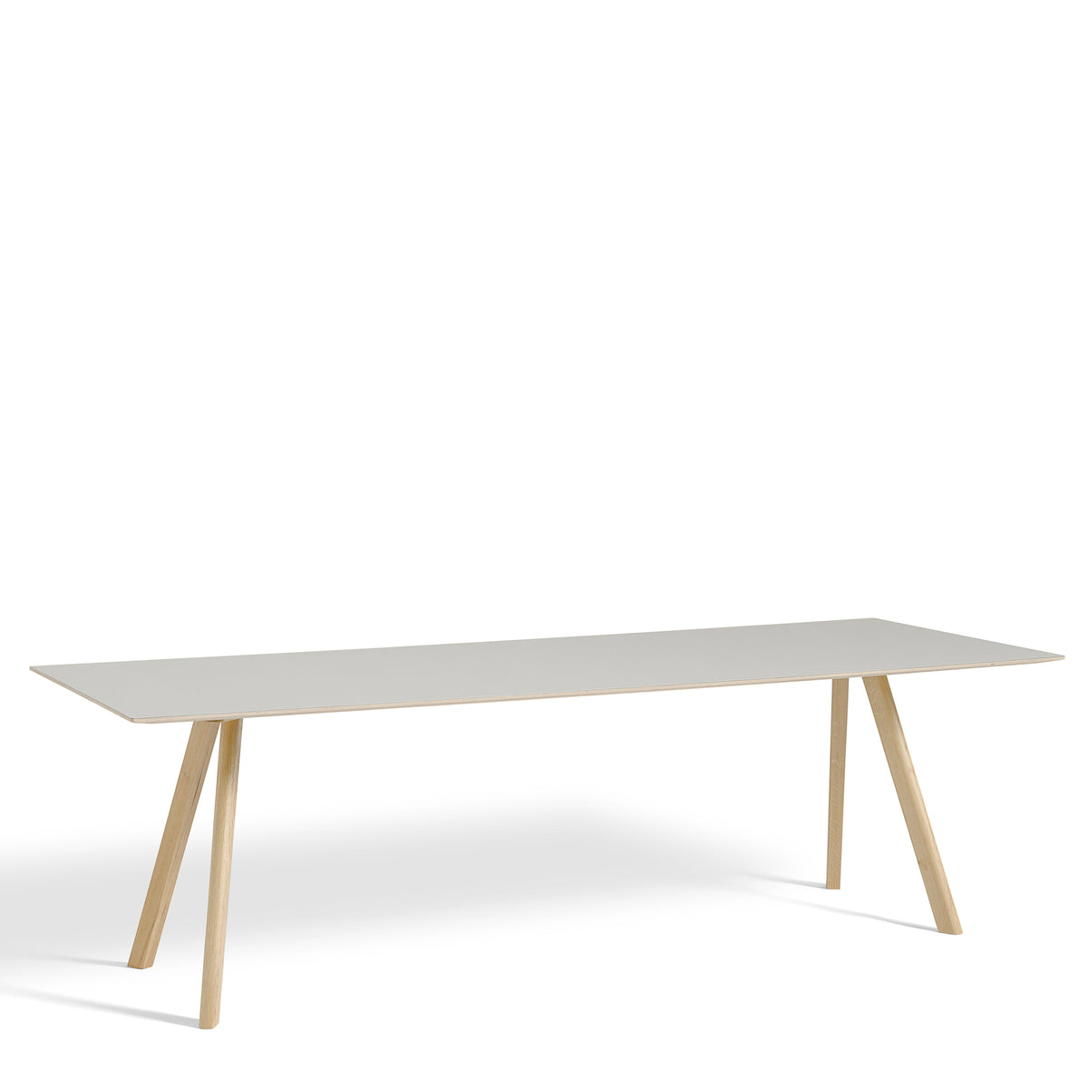 HAY CPH Table 2500mm Forbo Mushroom 4176 with Matt Lacquered Oak Base