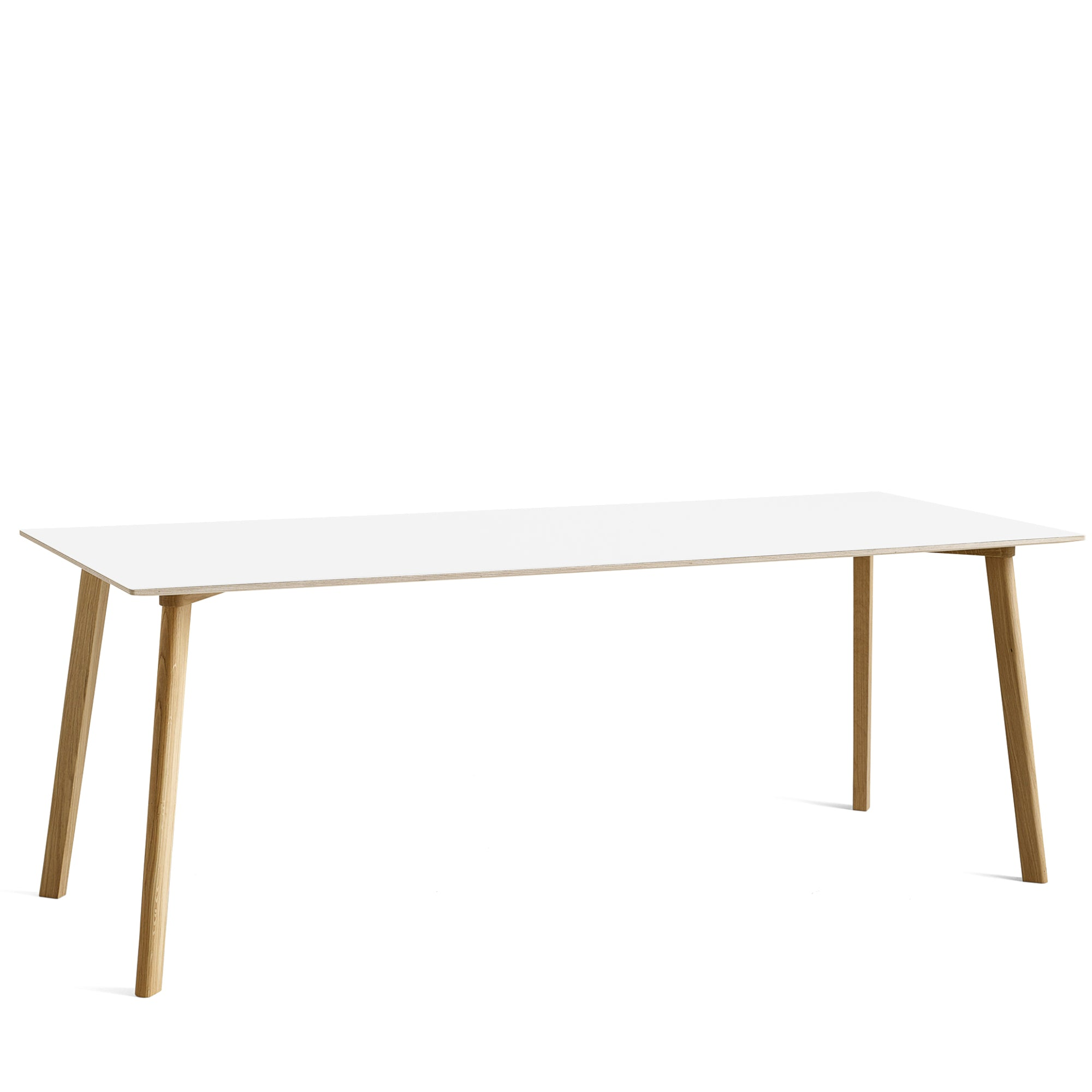 HAY CPH Deux 210 2000mm Pearl White 0029 with Matt Lacquered Oak Base