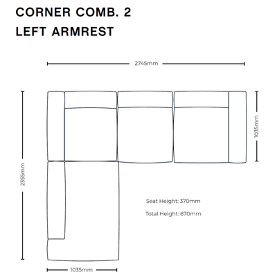 Dimensions for HAY Office Mags Fabric Corner Sofa