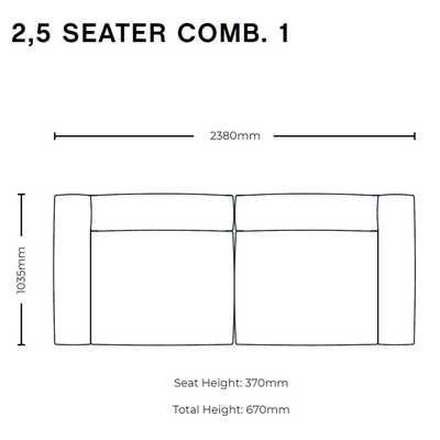 Dimensions for HAY Office Mags Soft Leather Sofa