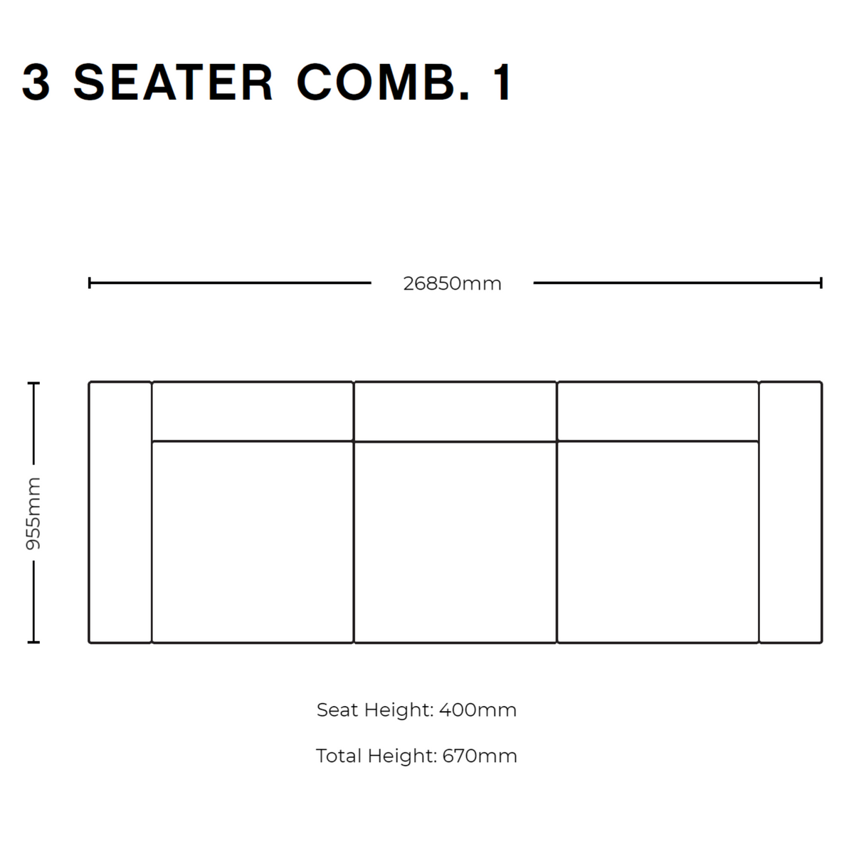 Dimensions for HAY Office Mags Fabric Sofa
